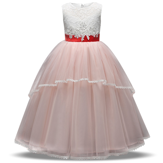 Long Pink Stylish Ball Gown Dress For Girls