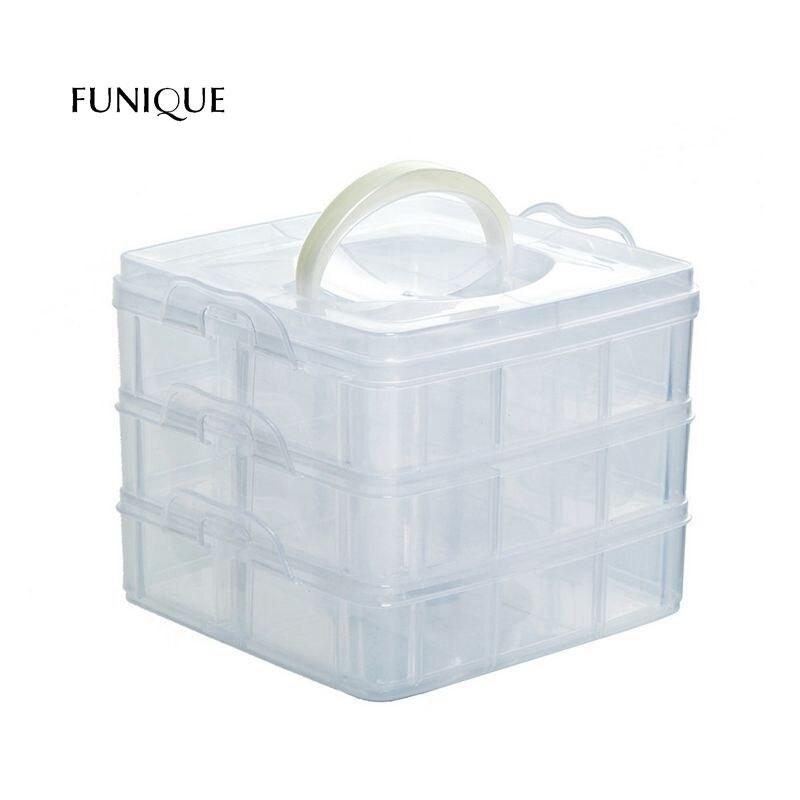 FUNIQUE 18-cells Jewelry Tool Box Beads Pills Nail Holder Medicine Storage Box Holster Transparent Plastic Office Organizer