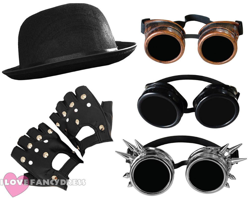 ADULT 3 PIECE STEAMPUNK FANCY DRESS SET GOTHIC RETRO RIVET PUNK GOGGLES HAT + GLOVES VICTORIAN SCI FI COOL COSTUME SET VINTAGE