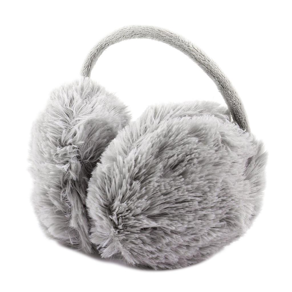HOT SALE!Unisex Winter Headband Fluffy Faux Fur Ear Pad Back Earmuffs Gray