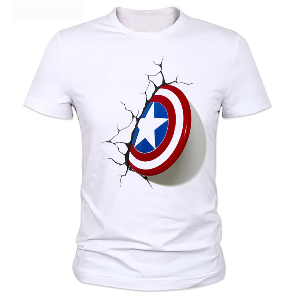 2016 Captain America 3D Shield T font b Shirt b font New font b Men b