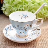 Bone china jingdezhen tea cup celadon chinese tea cup saucer High grade coffee cups Creative ceramic coffee cups Rose hanging