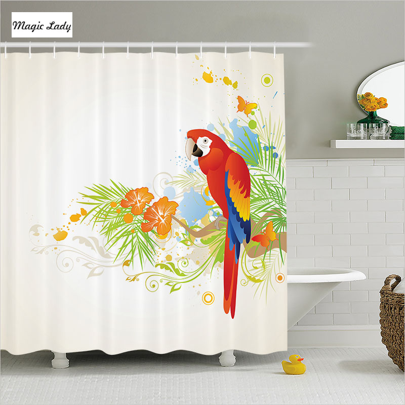 shower curtain bathroom accessories animal summer floral ornaments parrot tree decor red green