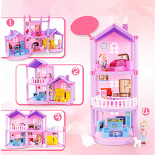 Sylvanian Families House Princess Dollhouse Diy Villa Castle With Furnitures Simulation Dream Girl Toy House for 6 Years Juguete