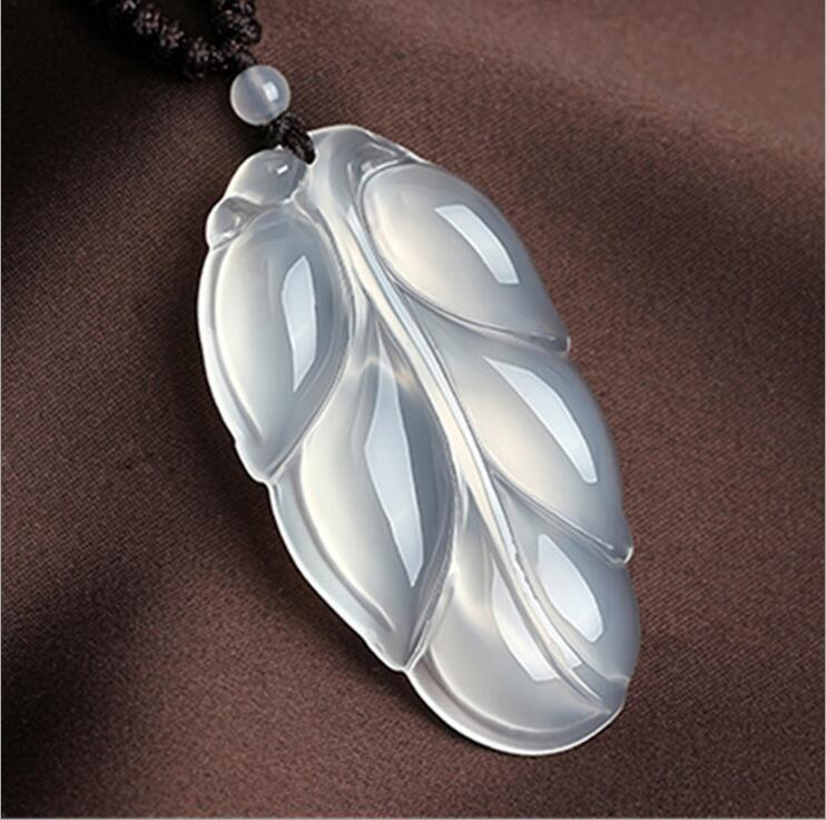 Natural Brazilian ice chalcedony leaf pendants Ice-type men and women fashion penda>>girls choker necklace pendant Free shipping