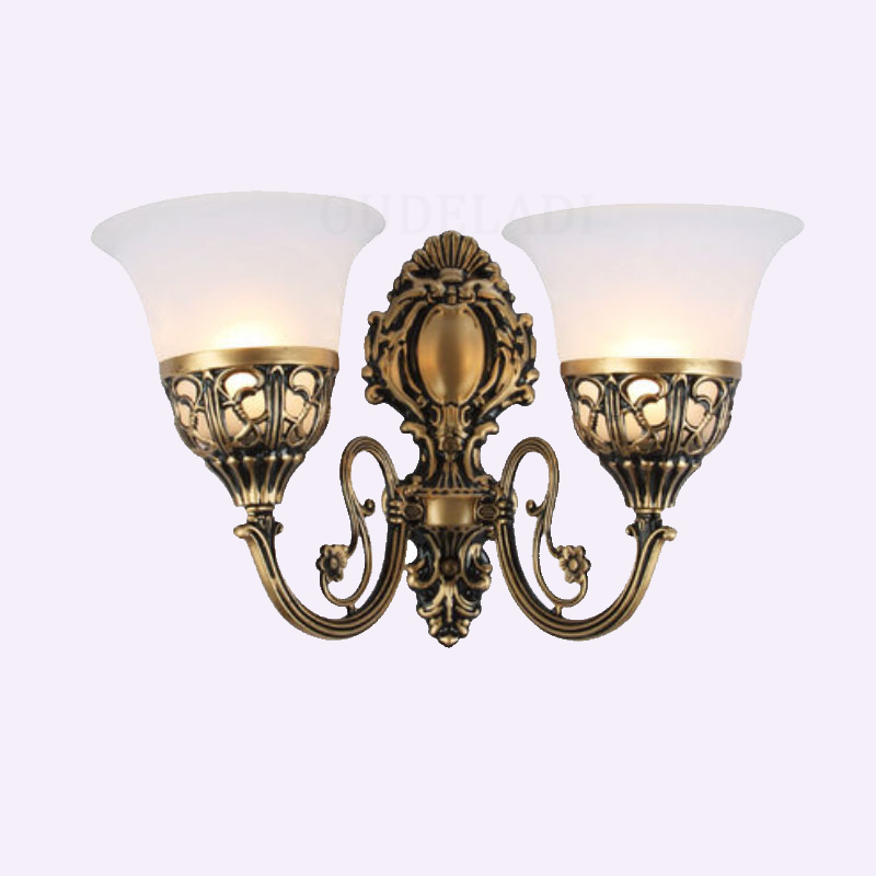 American Glass Wall Light Loft Study Foyer Dining Room Retro Bedside Sconce Luxury European Stair Single/Double heads Wall Lamps