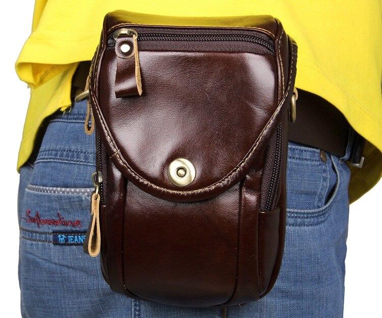 Men's Waist Packs Mini Small Vintage Cow Leather Business Man Waist Pack Bags Men Belt Bag Brown Mobile Phone Bag Fanny Pack
