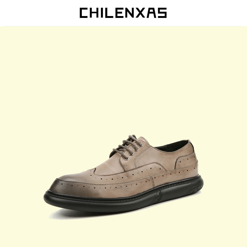 CHILENXAS 2017 Spring Autumn New Big Size Men Casual Genuine Leather Shoes Breathable Male Fashion Comfortable Lace-up Solid men canvas shoes 2017 spring autumn hot sale men s fashion splicing lace up casual male breathable flat shoes size 39 44