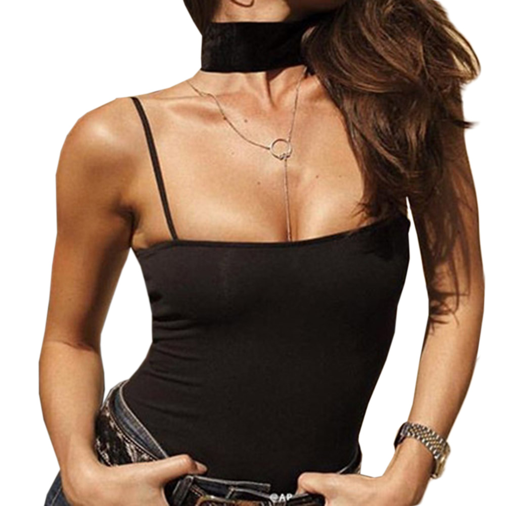Sexy Bodysuit Women Jumpers and Rompers Sexy Club Bodysuits Black Strap Scoop Back Sleeveless Cami Bodysuit