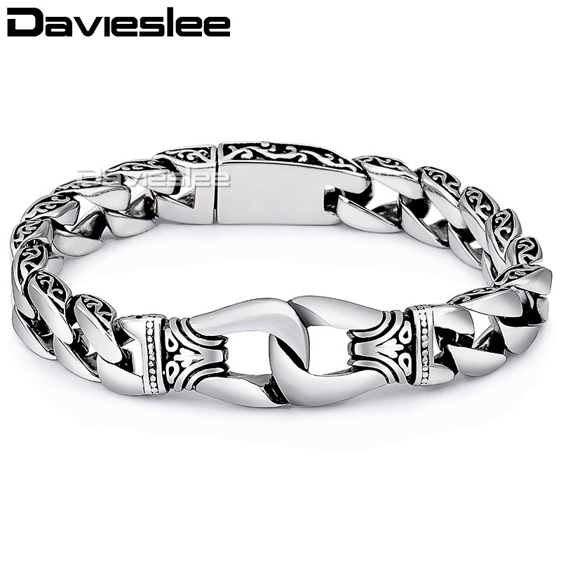 Davieslee Mens Bracelet Chain 316L Stainless Steel Punk Bracelets for Men Curved Silver Color Curb Chains Cuban Link 15mm LHB10 25mm mens chain boys big curb link gunmetal tone 316l stainless steel bracelet charm bracelets for women