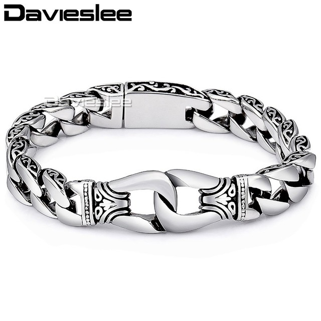 Davieslee Mens Bracelet Chain 316l Stainless Steel Punk Bracelets For Men Curved Silver Color Curb Chains