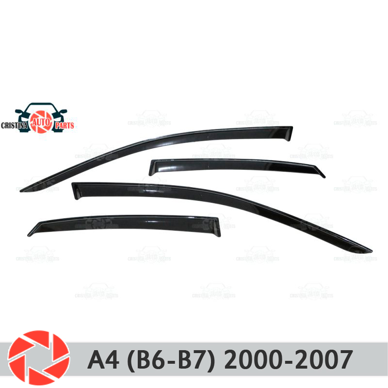 Window deflector for Audi A4 B6-B7 2000-2008 rain deflector dirt protection car styling decoration accessories molding boomblock 1set car inflatable car bed seat covers cushion for saab chevrolet cruze vw passat b5 b6 b7 toyota corolla 2008 rav4