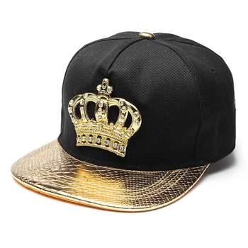 Erkek kadın Snapback şapka kral taç beyzbol şapkası ayarlanabilir Hip Hop baba şapkası altın/gümüş/siyah doruğa Rhinestone kristal güneşlikli kep