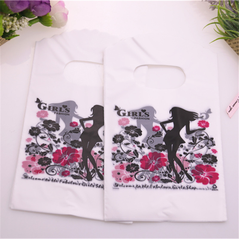 New Design Wholesale 50pcs/lot 9*15cm Fashion Girl Gift Bags For Jewelry Packaging Small Plastic Gift Bags With Flower