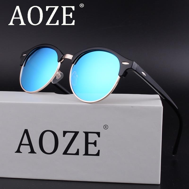 New AOZE polarized men fashion Lady retro sunglasses women top quality driving Semi-Rimless UV400 with Luxury box eyeglasses