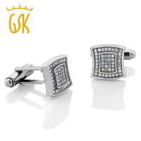 White Zirconia 925 Sterling Silver Cufflinks For Men 13X13MM Contoured