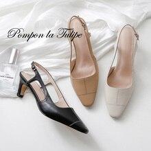 BHS 901129 Chic 6.5CM High Heel Stilettos Slingback Genuine Leather Stylish Sandals Sheepskin Fashion Women Shoes Party Wedding