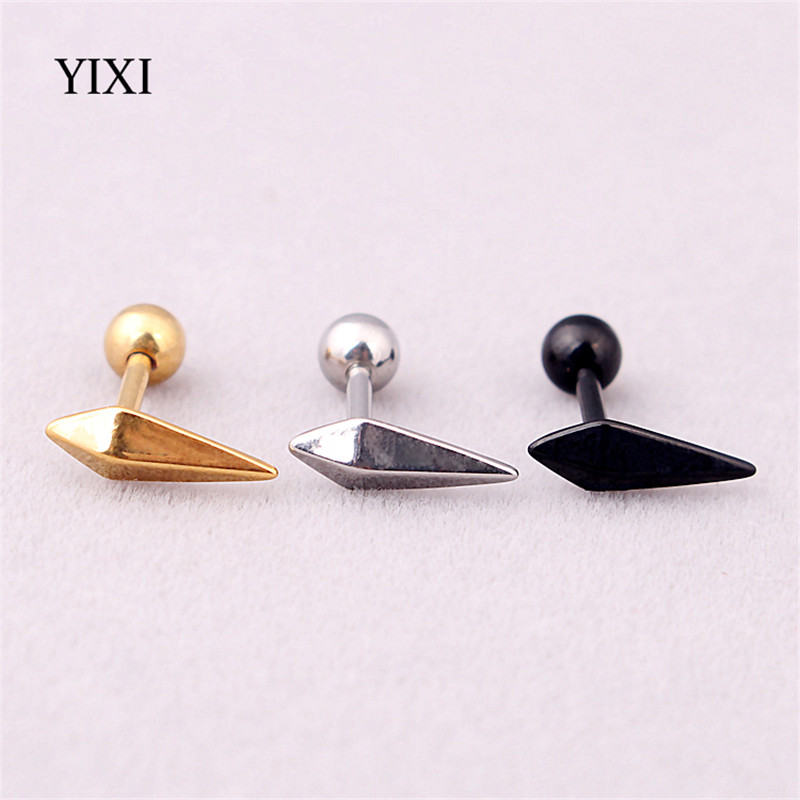 YIXI Triangle Barbell Earring Geometric Men Women Stainless Steel Stud Earrings Gold Silver Black Body Piercing Jewelry Gift