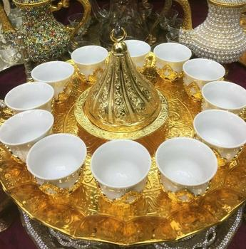 12 coffee cups Turkish Arabic Coffee Espresso Mırra Serving Set Tray Gold Color