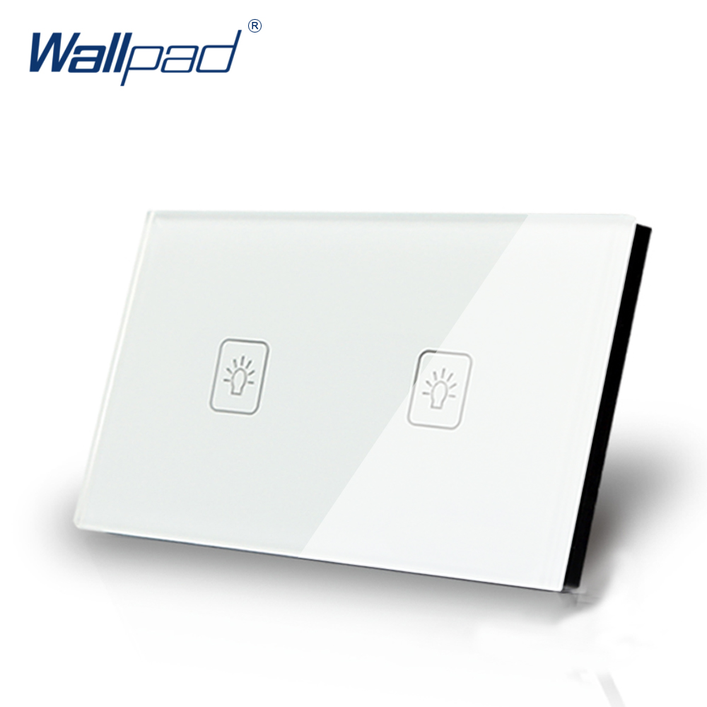 2 Gang 1 Way 118*72mm Wallpad White Glass Touch Wall Switch Panel, LED 110V-250V AU US Standard Light Switch , Free Shipping 2017 free shipping smart wall switch crystal glass panel switch us 2 gang remote control touch switch wall light switch for led