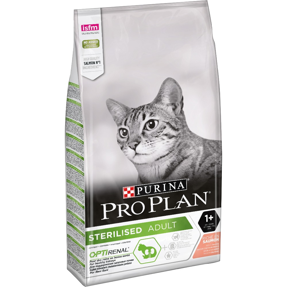 Dry food Pro Plan for sterilised cats and neutered cats, with salmon, Package, 10 kg dry food pro plan for sterilized cats and neutered cats with salmon 12 kg