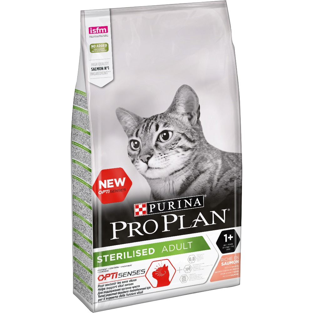 Dry food Pro Plan for sterilised cats and neutered cats (for the maintenance of the senses), with salmon, Package, 10 kg cat food pro plan sterilised for neutered cats and sterilized cats to maintain the senses salmon 3 kg