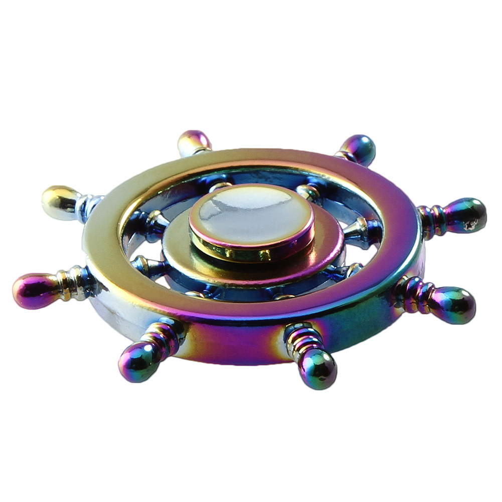 1 Pc Brass Helm Fidget Spinner Cute Panda Top Toy Captain Rainbow Mainan Hand 3 Circle Arms Colorful Of The Fingertips Gyro For Autism Adult Anti Relieve