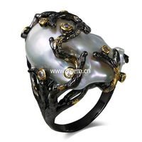 Kinly Store Pearl Jewelry Genuine Natural Fresh Water Pearl Rings For Women Ring Black Color Plated