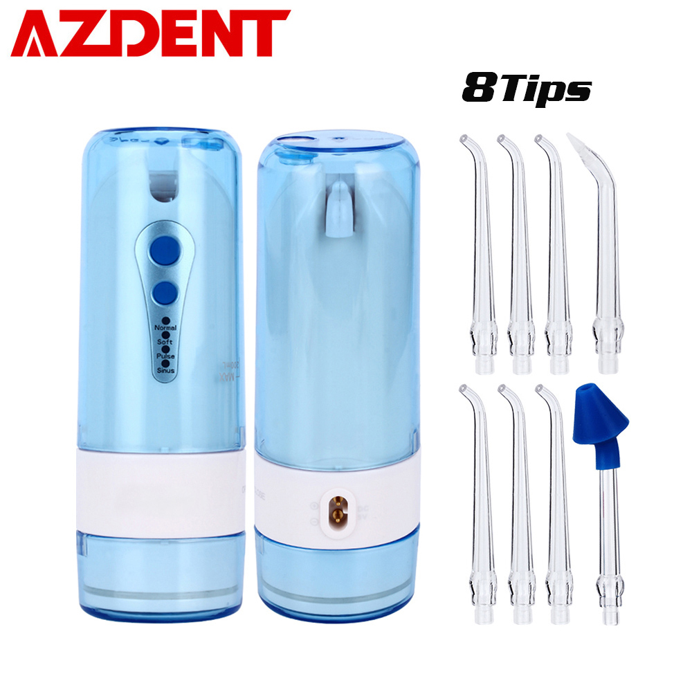 AZDENT 4 Levels Portable Cordless Water Dental Flosser Electric Oral Tooth Pick Irrigator USB Recharging 200ML with 8 Jet Tips azdent fashion 4 modes portable fold electric oral irrigator usb charging water dental flosser rechargeable 200ml 5 jet tips