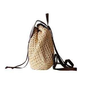 Image 2 - Женский соломенный рюкзак на шнурке, модная пляжная популярная сумка на лето, большой дорожный ранец BP3002