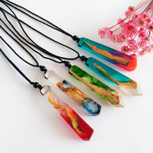 Handmade Ink Painting Resin Wood Pendant Necklace Women Men Long Rope Sweater Chain Necklace Wooden Necklace Pendants Jewelry