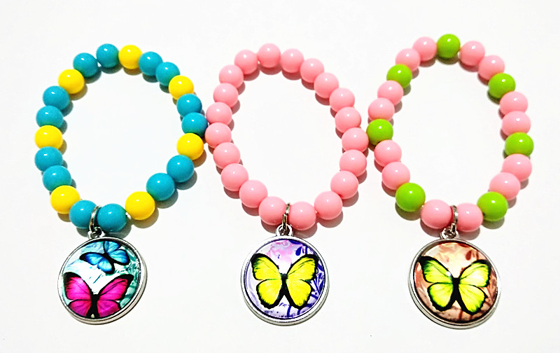 24pcs/lot Lovely Butterfly Pink Rose Blue Beads glass bracelets Leather Cartoon hand chain for girls Bangle best gift