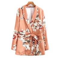 2018 Women Floral Printed Blazers With Belt Blazer Feminino Manga Longa Jaqueta Feminina Female Flower Blazers