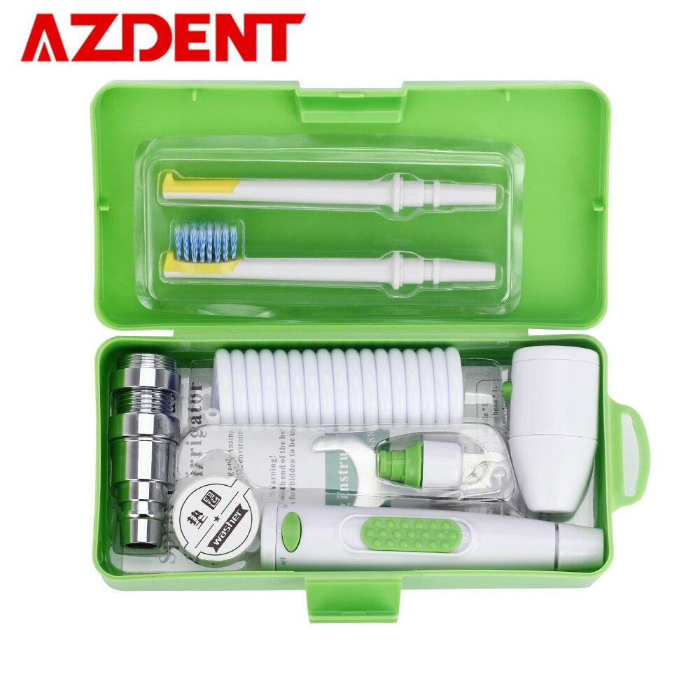 AZDENT Neue Tragbare Oral Irrigator Wasser Wasserhahn Dental Flosser Abnehmbare Floss Bewässerung Pinsel Kopf Sprinkler Box 2 Jet Tipps