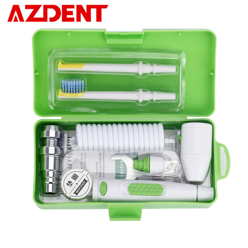 AZDENT New Portable Oral Irrigator Water Faucet Dental Flosser Removeable Floss Irrigation Brush Head Sprinkler Box 2 Jet Tips