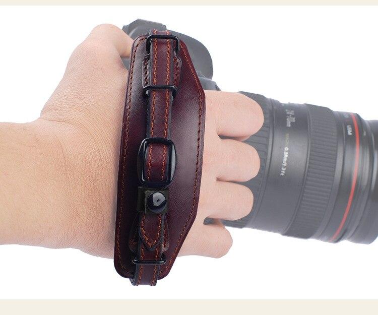 Genuino reloj de cuero correa para todos SLR DSLR Canon Nikon Sony 5d2 5d3 d800 6d 7d 70D 80D D7200 d610 SLR