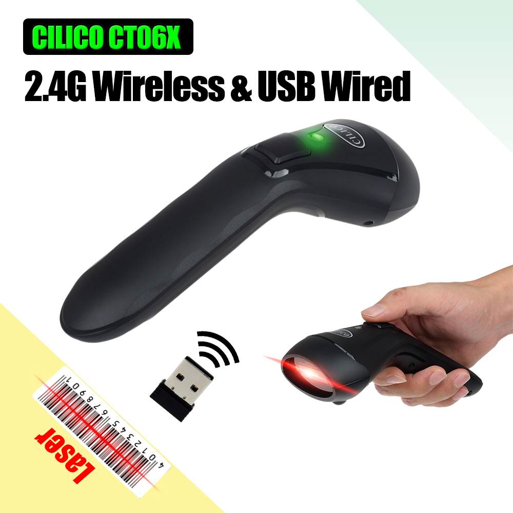 CILICO 2.4G Wireless/Wired Barcode Scanner USB 1D Automatic Reader Hand-held UPC EAN Codabar Rechargeable Bar Code Scan Gun CT60