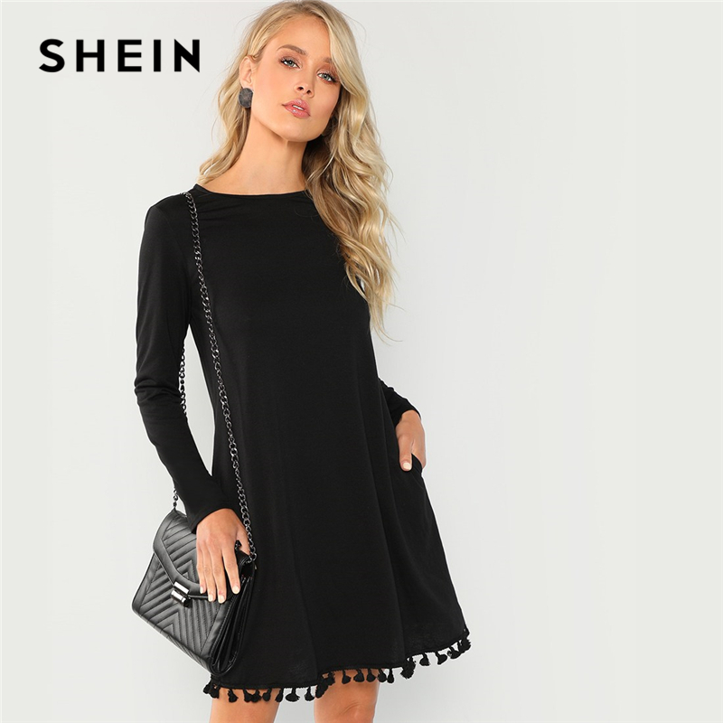5d9c0d2d2f SHEIN Black Office Lady Party Tassel Hem Pocket Long Sleeve Natural Waist  Solid Dress 2018 Autumn