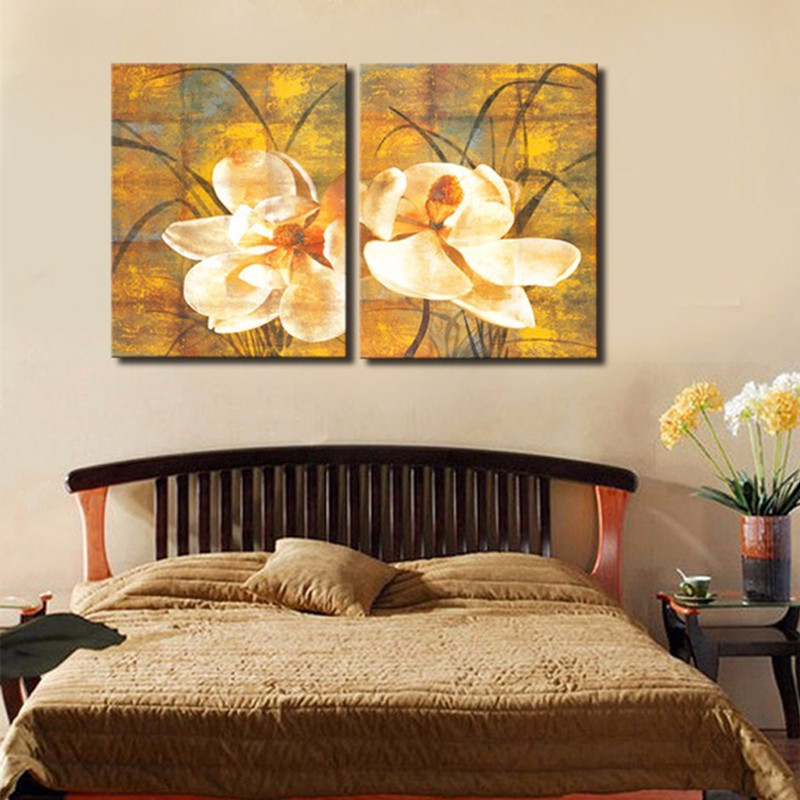 2 Panel Wall Painting Hand Painted Abstract Flower Oil Paintings on Canvas Home Decoration Art Large Gold Yellow Floral Pictures2 Panel Wall Painting Hand Painted Abstract Flower Oil Paintings on Canvas Home Decoration Art Large Gold Yellow Floral Pictures