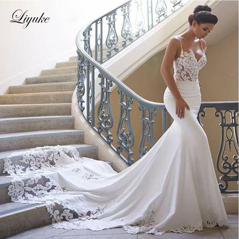 Marvelous Soft Satin Spaghetti Straps Mermaid Wedding Dress Elegant Backless Unique Style Vestido De Noiva