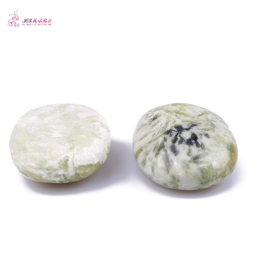 HIMABM 2 Pieces Natural Light Green Xiuyan Jade Hot Spa Basalt Stone Massage Basalt Stone Lava Rocks 6*8cm