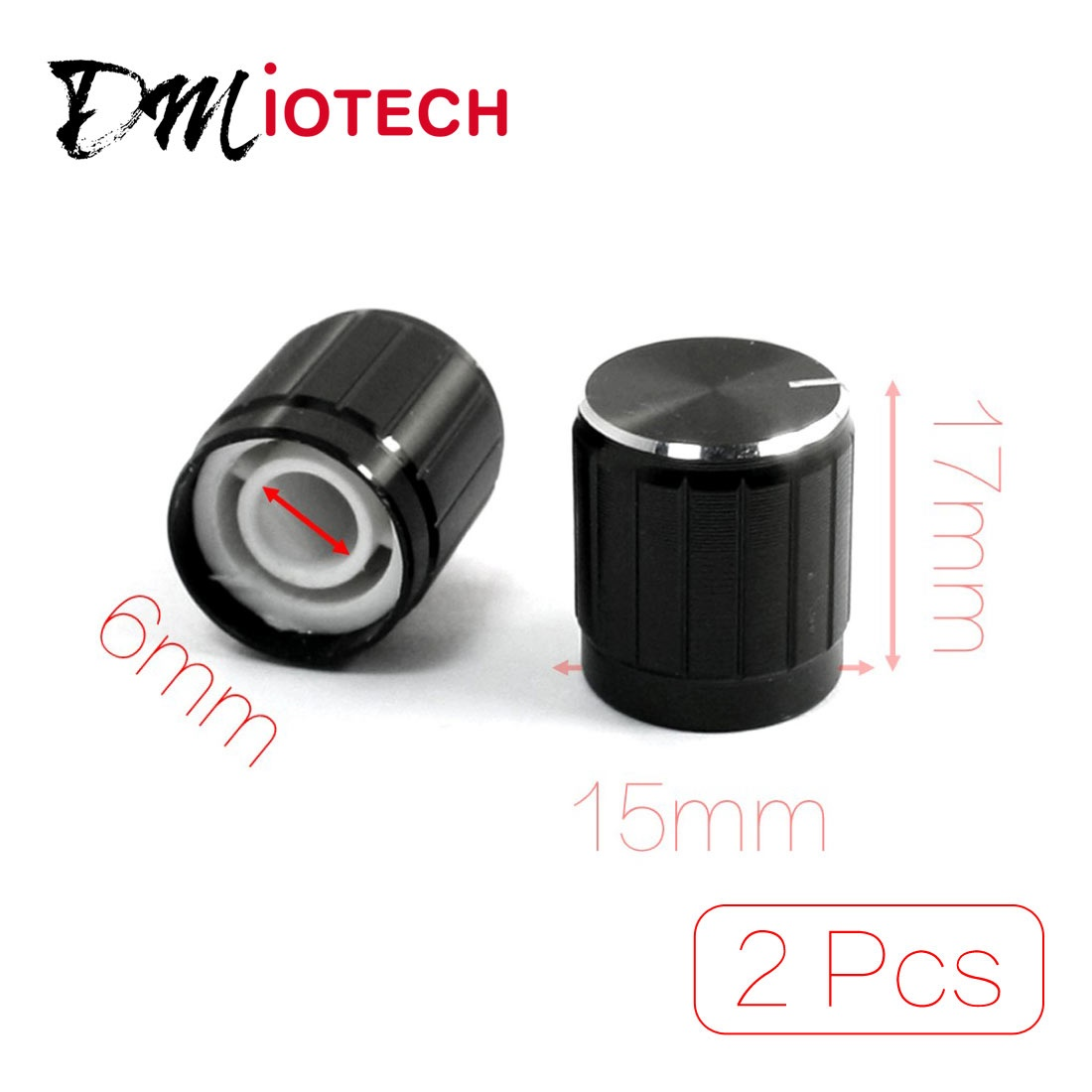 UXCELL 2Pcs Nonslip Ribbed Grip Potentiometer Rotary Knobs Caps 6Mm Dia. Hole Black Switch Accessories Electrical Equipment
