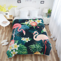 Cilected Flamingo Pattern Plush Throw Blanket Bedclothes Tropical Plant Flannel Fleece Blanket Sofa Cover Bed Blankets