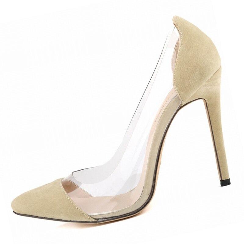 Tacones altos nueva moda sexy ver a través de punta estrecha mujeres  Zapatos fino Tacones tacón alto Zapatos mujeres Bombas altura 11 2733ebbb2f47
