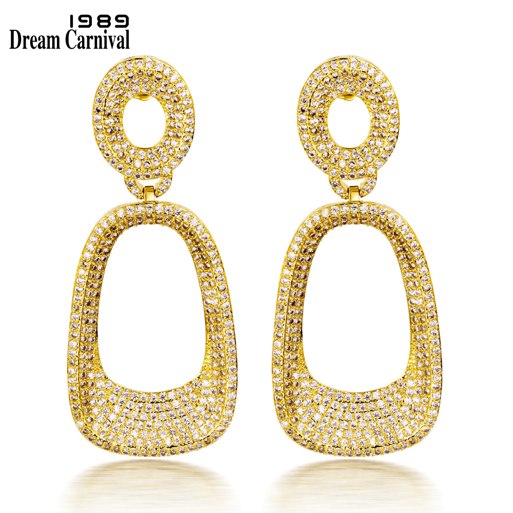 DreamCarnival 1989 Luxury Pendant Earrings for Women Big Drop Hollow CZ Wedding Party Costume Jewelry Gold Rhodium Color SE07618