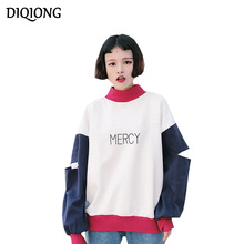 Diqiong Autumn Winter Female Casual Hoody Printed Letter spell color stitching Long sleeve Large size Women Hoodie Sweatshirts
