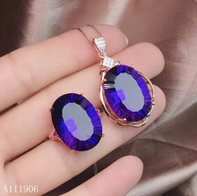 KJJEAXCMY boutique jewelry 925 sterling silver inlaid amethyst gemstone female ring necklace pendant set new luxury kjjeaxcmy fine jewelry 925 sterling silver inlaid citrine amethyst gemstone female necklace pendant set new luxury