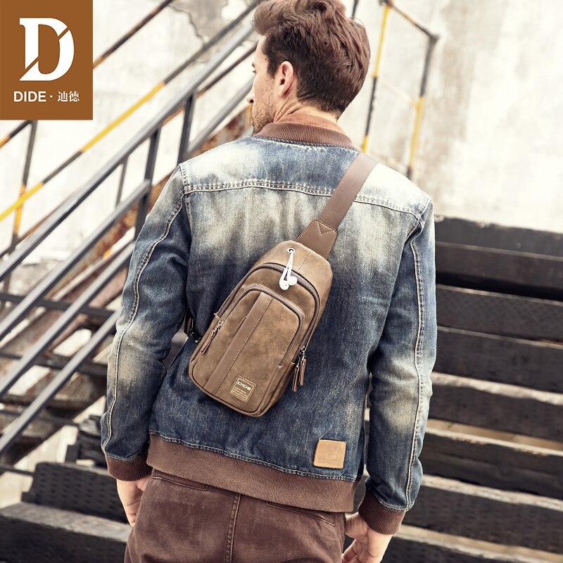 DIDE Fashion Vintage Shoulder Bags men handbags male bag designer PU Leather chest bag Men's cossbody Messenger Bags 707    3
