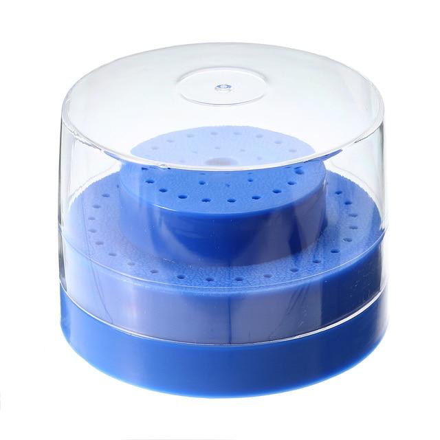 60 agujeros ranuras redondo plástico Bur Holder Burs bloque caja diamante Bur molienda cabeza soporte azul Dental laboratorio instrumento