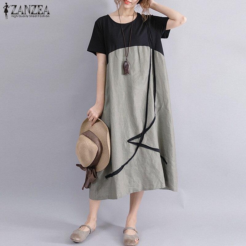 Plus Size ZANZEA Women Casual Summer O Neck Short Sleeve Pockets Party Baggy Midi Dress Loose Splice Linen Beach Shirt Vestido